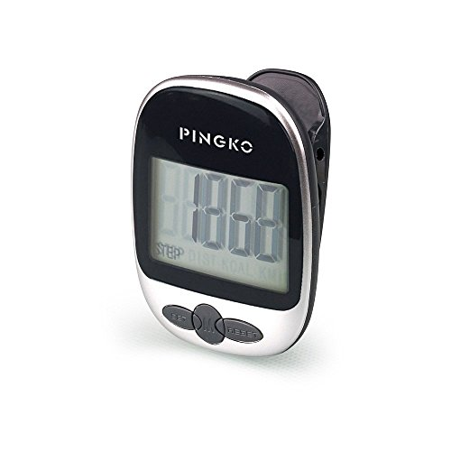 PINGKO Walking Pedometer Accurately Track Steps Portable Sport Pedometer Step/distance/calories/ Counter Fitness Tracker, Calorie Counter-Black