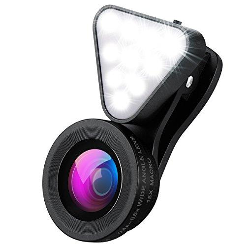 AMIR Obiettivi Smartphone con 10 Luci Flash, 0.4X - 0.6X Lenti Grandangolo, 15X Obiettivo Macro, Obiettivo Cell Phone per iPhone 7, 6s, 6s Plus, 6, 5s, Samsung, HTC e Più Smartphone (Nero)