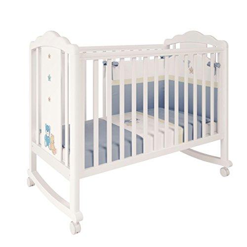 Bett Rollen (Polini Kids Kinderbett Classic 621 weiß blau aus Massivholz, 3025-48)