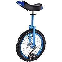 ZSH-dlc Monociclo 16/18 Pulgadas Solo Redondo para niños, Adultos, Altura Regulable, Equilibrio, Ejercicio de Ciclismo, Color múltiple (Color : Azul, Tamaño : 16 Inch)