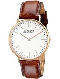 August Steiner Reloj de cuarzo Hombre, Blanco con esfera analógica pantalla y correa de piel color marrón as8084 X rgbr