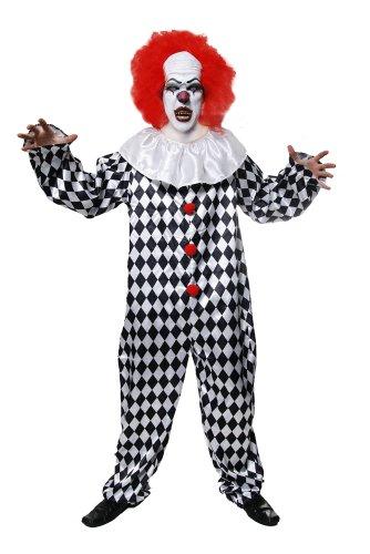 Grusliger Clown-Kostüm - für Erwachsene/Herren - Halloween-Kostüm - Erwachsene Clown-kostüm