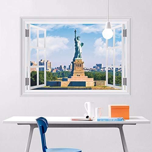 Zxfcczxf Ankunft Pvc 3D-Effekt Freiheitsstatue Landschaft Außerhalb Der Fenster Wandaufkleber Schlafzimmer Wand Dekor Raumdekoration70 * 50 Cm