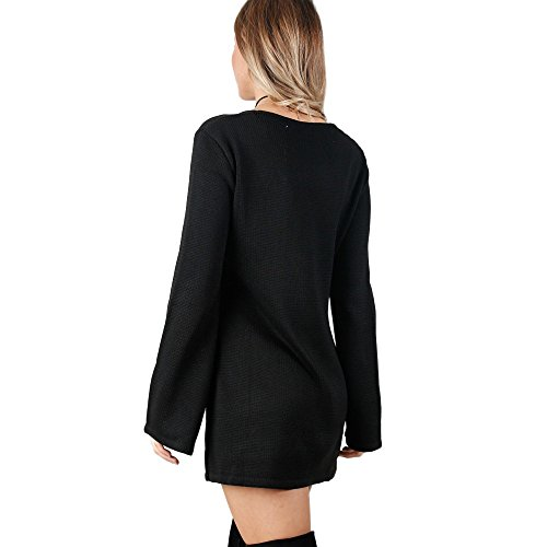 Tonsee Femmes Mode Bandage Casual robe à manches longues Sexy V-cou Robe Noir