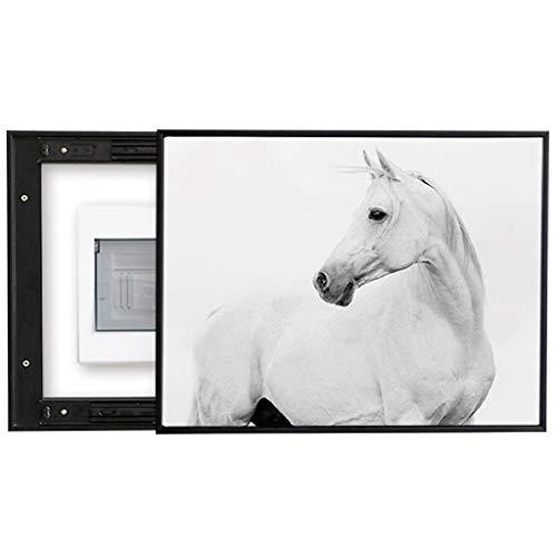 Dbxiang Dekorative Malerei des Messkastens rechts weißes Muster des modernen Zebras des Gegentakts für Schlafzimmeresszimmer-Korridorwand, schwarze PS-Plastikgrenze ( Size : ( 60*50cm 45*40cm) ) - Klappe Zebra