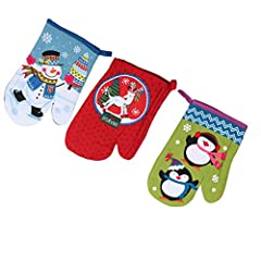 Idea Regalo - OUNONA 3 Pezzi Guanti da Forno di Natale in cotone resistente al calore invernale Guanti protettivi per barbecue guanti da cucina (Colore casuale)