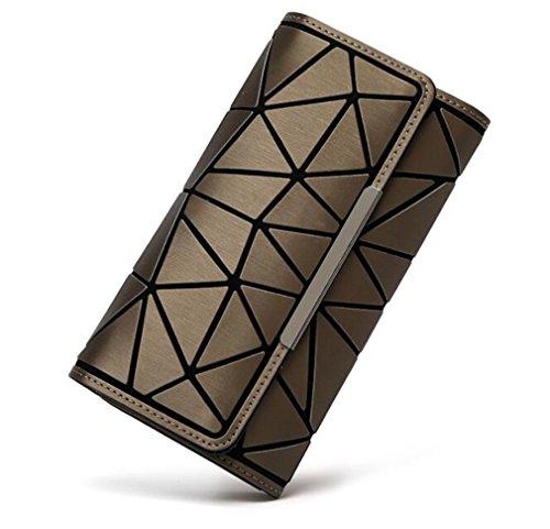 Yueling Brieftasche Geometrische Brieftasche Karten Tasche Nachtleuchtende Weiblichen Hologramm Silber Leuchtende Tasche Geldbörse Shinning matt Color Brown