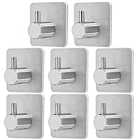 Self Adhesive Hooks,Stainless Steel Towel Hooks Rust Proof Coat Hooks Waterproof Oilproof Sticky Wall Hooks Robe Hooks Heavy Duty for Kitchen Bathroom Bedroom Coats Pack of 8 (4.5 x 3 x 4.5cm)