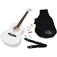 ts-ideen - Set de guitarra acústica eléctrica y pastilla (incluye set de accesorios: funda acolchada, correa y cuerdas de repuesto), color blanco