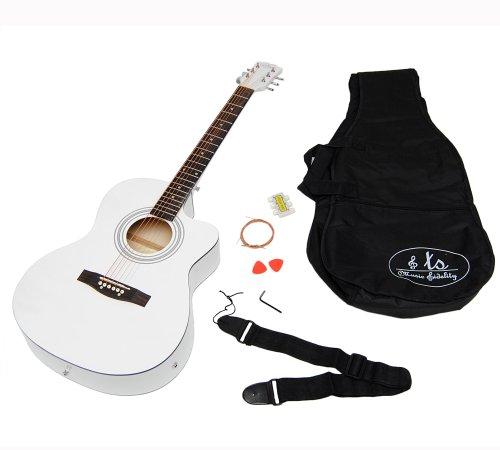 Elektro Akustik Gitarre Westerngitarre Weiß weiss mit EQ Tonabnehmer Pickup und Zubehörset: gepolsterte Tasche, Gurt und Ersatzsaiten
