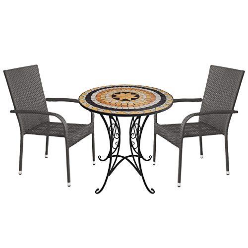 3tlg. Mosaik Sitzgruppe Ø70cm + 2X stapelbare Polyrattan Gartenstühle Grau