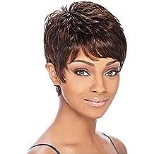 Meylee Pelucas El nuevo estilo negro mezclado Color marrón corto peluca de pelo para las niñas