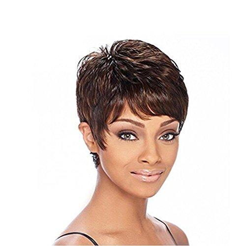 Meylee Perücken New Style Schwarz Farbe braun Kurzhaar Perücke für schwarze Mädchen gemischt