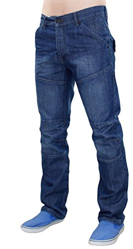 Mens Crosshatch Woodel Jeans Stone Wash 30S (Pant Fit Poly Modern)