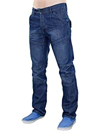 New Men Designer Crosshatch Revêtue Denim Regular Fit Straight Leg Jeans Trouser