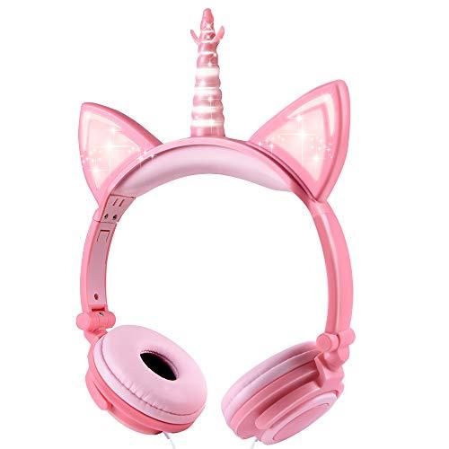 Cuffie per Bambini Unicorno, Sunvito Orecchio sopra con orecchie di gatto incandescente a LED, Cuffie per bambini cablate, 85dB Volume, Kids Unicorn Cuffie ispirate al gatto per ragazze (Rosa-Pesca)