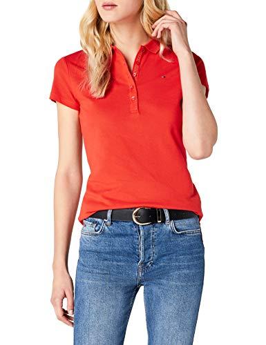 Tommy Hilfiger Damen New Chiara STR PQ Polo SS Poloshirt, per Pack Orange (Fiesta 084), 36 (Herstellergröße: SM)