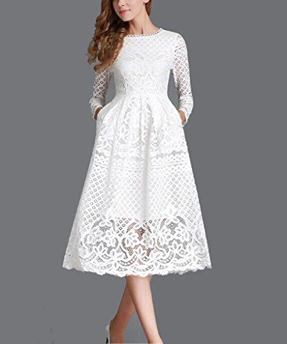 Minetom Damen Kleid Lange Ärmel Sommerkleid Spitze Elegant Abendkleid Partykleid Maxi Kleid Weiß