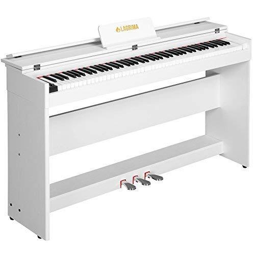 LAGRIMA E-800 Digital Piano Keyboard 88 Tasten mit 3 Pedale, Adapter & USB/MIDI Minimalismus Weiß