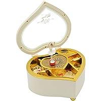 Beetest® Cuore Forma Carillon / Ballerina Dancing Meccanica Musical Box / Bambini Monili Contenitore Natale Compleanno Regalo Music Box, Bianco
