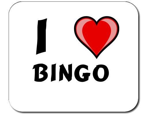 Mauspad mit Aufschrift Ich liebe Bingo (Vorname/Zuname/Spitzname)