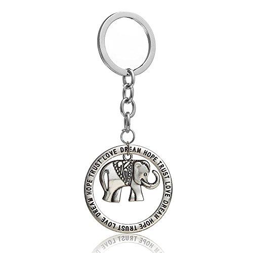 Schlüsselanhänger, Elefant, rund, mit englischer Aufschrift