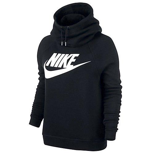Nike Damen W Sportswear Rally Hoodie GX1 Kapuzenpullover, Schwarz/Weiß, M (Damen Rally Pullover Nike)