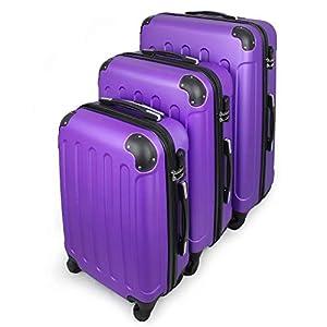 Todeco – Juego de Maletas, Equipajes de Viaje – Material: Plástico ABS – Tipo de Ruedas: 4 Ruedas de rotación de 360 ° – Esquinas protegidas, 51 61 71 cm, Púrpura, ABS
