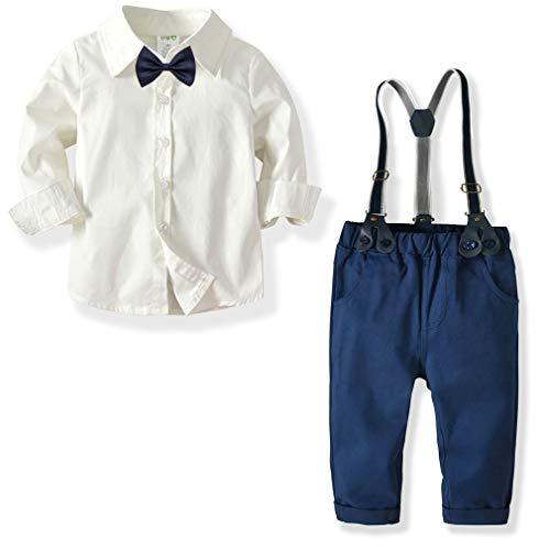 CARETOO Baby Jungen Bekleidungssets 100% Baumwolle Mantel+Langarm Hemd+Hose+Hosenträger+Fliege Krawatte Anzug Gentleman Festliche Taufe Hochzeit für Herbst