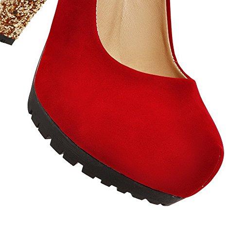 VogueZone009 Donna Punta Tonda Punta Chiusa Tacco Alto Colore Assortito Tirare Ballerine Rosso