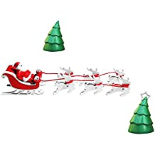 Fancy Interio Christmas Decorative Set with Santa Claus Drawn By Reindeer's, Christmas Trees & Tree Hangings - (7 cm, Polyester, Multicolor, Pack of 9 Items).
