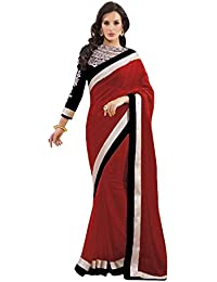 Om Designer Latest Stylish Half Half Chiffon Saree For Women With Embroidered Blouse Material-Latest -#02