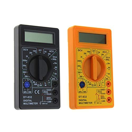 DT-832 Mini-Taschen-Digital-Multimeter 1999 Counts AC/DC Volt-Verstärker Ohm-Diode HFE Durchgangsprüfer Amperemeter Voltmeter Ohmmeter (Farbe: Schwarz)