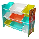 """Kinder Spielzeugregal mit 9 Boxen Kinderregal Spielzeugkiste Bücheregal Aufbewahrungsbox Kinderzimmer Möbel""""Bär,Hase,Tiger und Löwe"""" HS-17GD-004 (84 x 60 x 30 cm)"""