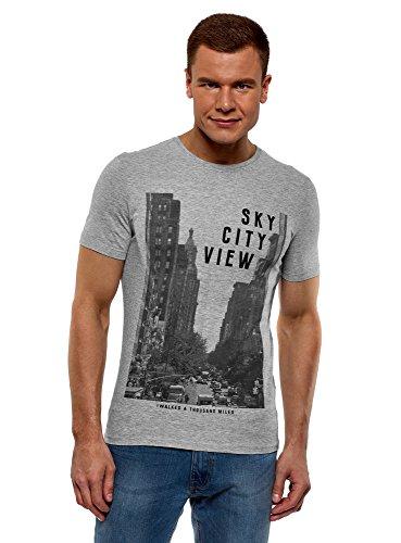 oodji Ultra Herren Baumwoll-T-Shirt mit City-Print, Grau, XXL