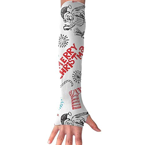 fdghjdyjdty Unisex Merry Christmas Sock Gift Bell Drawing Sense Ice Outdoor Athletic Arm Warmer Long Sleeves Glove