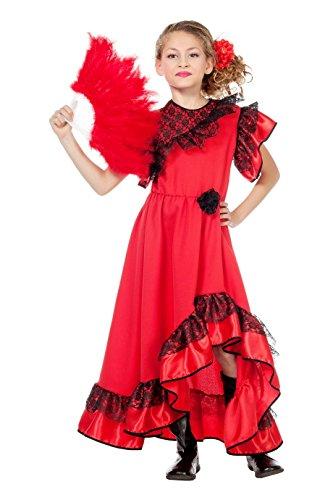Jannes - Kostüm Spanierin Kinder Rot - Flamenco Tänzerin Kostüm Kind