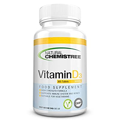 Vitamin D3 3000IU High Strength Vegetarian Tablets – 12 Month Supply (365 Tablets) – Easy to swallow Vitamin D3 Cholecalciferol Tablets by Natural Chemistree by Vipat Ventures