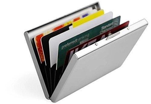 Joyoldelf Kreditkartenetui aus Deluxe Edelstahl, Scheckkartenhülle, Ausweishülle - bis zu 6 Kreditkarten - Geldbörse für Damen und Herren - Deluxe Damen Geldbörse
