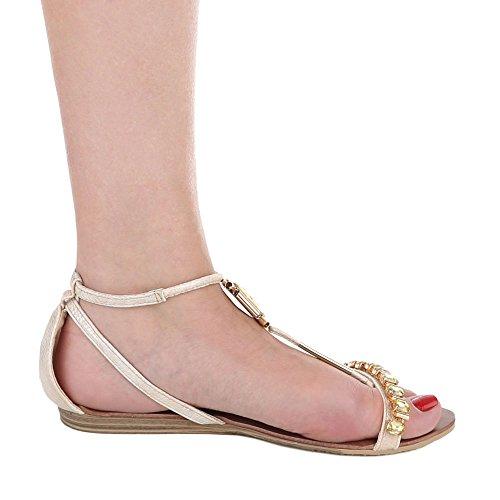 Riemchensandalen Damenschuhe Knöchelriemchen Riemchen Schnalle Ital-Design Sandalen / Sandaletten Beige