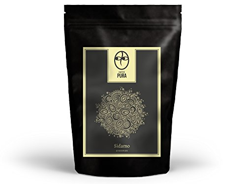 KAFFEE PURA Sidamo Kaffee, Bio & fair, 500g ganze Bohne, Hochlandkaffee aus Äthiopien