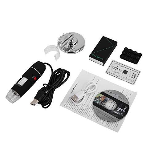 FairytaleMM WiFi Digital Mikroskop 8 LED Zwei in einem USB-Endoskop Kamera Microscopio 1600X Stereo Elektronische Lupe Plug and Play Schwarz