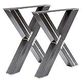 Holzwerk Design Tischgestell X Gestell Kreuzgestell Rohstahl Tux 306 Tischuntergestell Tischkufe Kufengestell 1 Paar 690x725 mm Industrielook