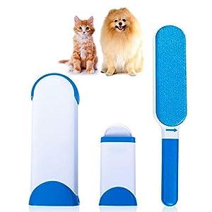 Magicien Fur Wizard Pet Fur & Épilateur de Fourrure Brosse Poil pour Chat et Chien Dégrafe réutilisable pour animaux de compagnie avec base autonettoyante (Bleu)