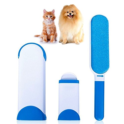 Pet Cepillo de Animales Cepillo de eliminación de pelo de mascotas, Magic Pet Hair Remove Cepillo Limpiador Reutilizable Mascota Fur Remover con Auto-Limpieza Base para Big Small Dog Cat Blue