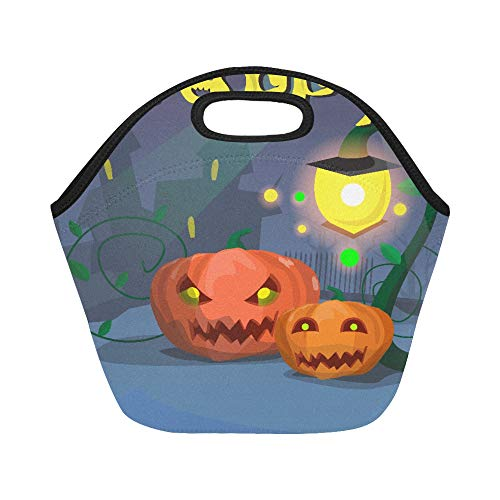 Isolierte Neopren-Lunchtasche Happy Halloween Banner Kürbis gruseliges Gesicht flach Vec große Größe wiederverwendbare Thermo-Lunch-Taschen für Lunch-Boxen für Outdoor, Arbeit, Büro, ()