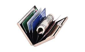 Porte-Carte de Crédit, Portefeuille de Carte de Crédit en Métal en Métal pour Hommes et Femmes, avec Protection RFID et NFC Contre le vol de Données pour 6 Cartes. (Or Rose)