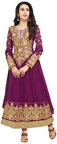 Mrig Women Faux Georgette Dress Material (El30012 _Purple _Free Size)