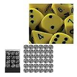 Produktbild von Chessex 25802 - Würfelset opaque gelb/schwarz, 36 6 - seitige