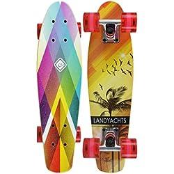 GXY sous-Marin Petit Panneau de Poisson Mini-Planche d'érable 57 * 15 * 11 Couleur Arc-en-Ciel débutant Pinceau Rue Voyager Scooter à Quatre Roues Skateboard (Color : Multi, Size : Colored)